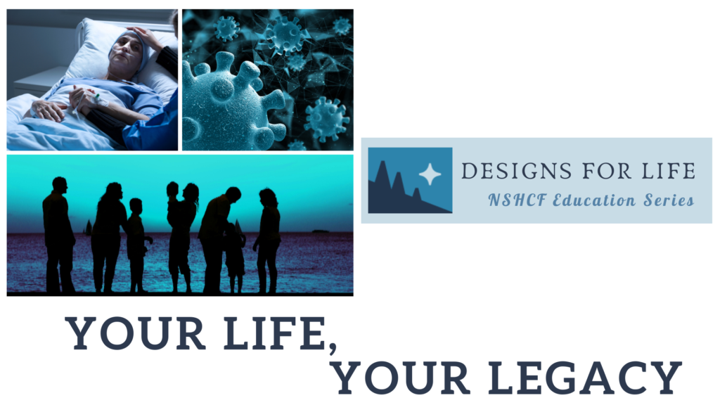 Your Life, Your Legacy collage image of covid cells, younger woman dying in hospital, a multigenerational family standing on the shore of a lake