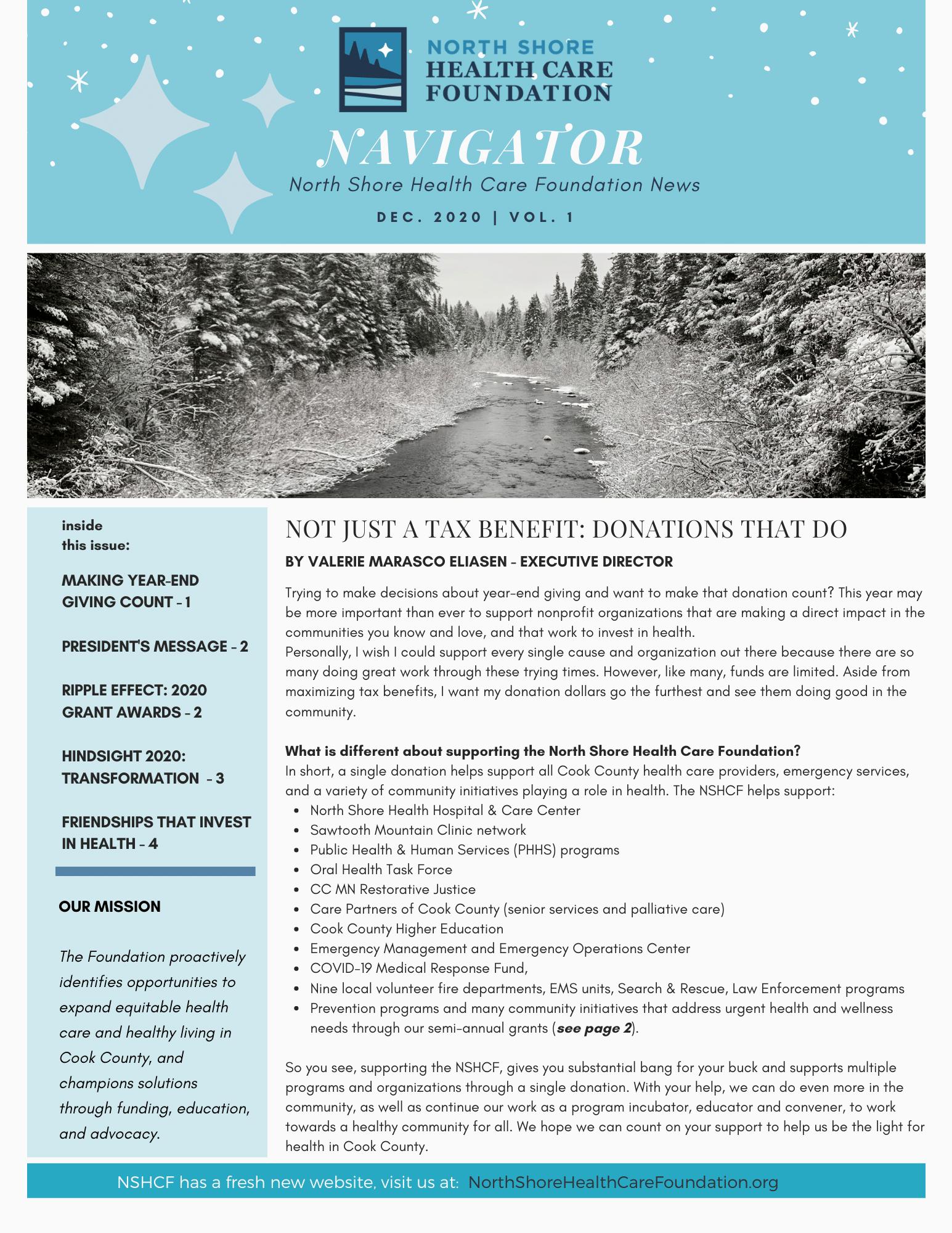 December 2020 Edition of the NSHCF Navigator